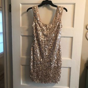 Guess Sequined Dress Rose Gold Colored